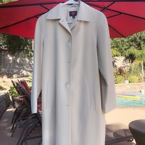 Gallery beige long buttoned trench coat XS